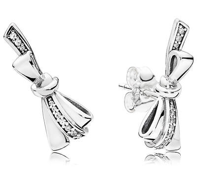 Authentic Pandora Silver Brilliant Bow CZ Stud Earrings 297234CZ 2018