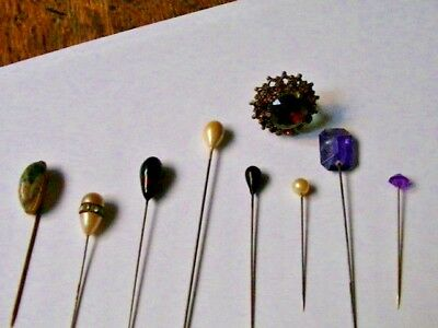 EIGHT Vintage Hat Pins ONE WITH MALACHITE STONE + VINTGE BROKEN RING