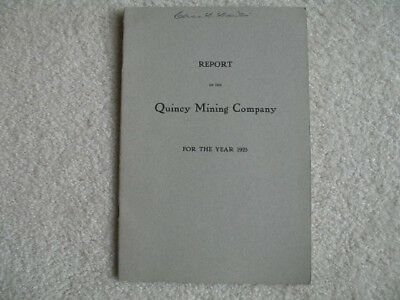1925 Quincy Copper Mine Annual Report Hancock Michigan Manager Signed