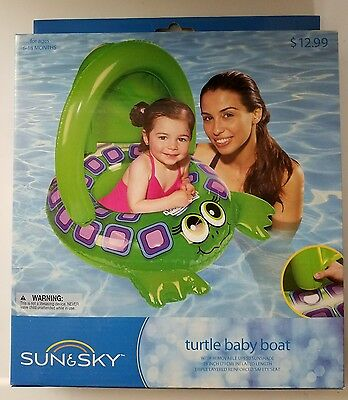 Sun Sky Inflatable Turtle Baby Boat Tube Pool Float Green