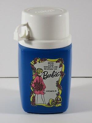 Mattel 1973 World of Barbie Blue Plastic Thermos - Mint!