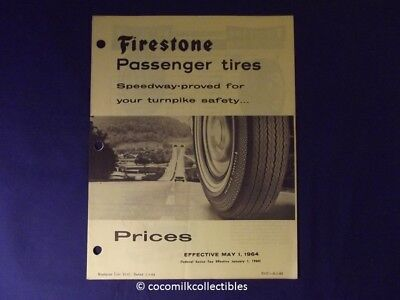 May 1964 Firestone Passenger Car Tire Price Catalog Whole Tire Line Motorcycle