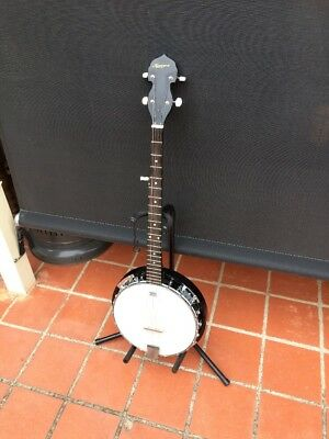 Quality Karrera 5 String Banjo. Remo Weatherking Banjo Head. Vg Cond. With Stand