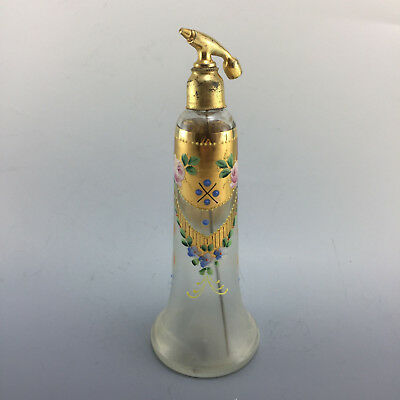 Lovely Old Vintage Hand Painted Antique Perfume Scent Bottle Atomizer