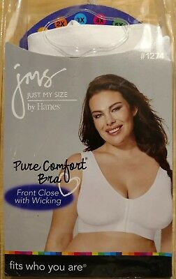 86ca7a1e3b4 Nip Jms Just My Size 4X 48 Pure Comfort Wicking Wire Free Bra Front Close  White