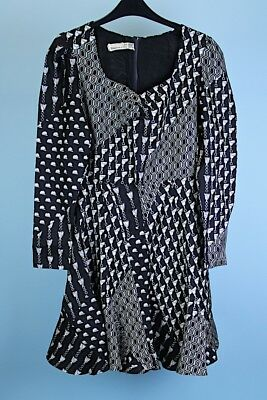Vintage 1970s abstract black and white dress S