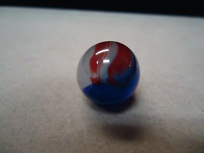 Vintage Akro Agate Blue Oxblood Patch Marble  5/8  Mint -
