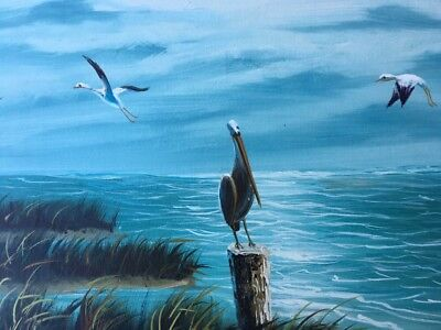 Serene And Soothing Seascape With Pelicans Original Acrylic Painting