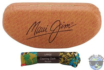 Maui Jim Large Clam Universal Glasses Case w/  Large Cleaning Cloth Pouch