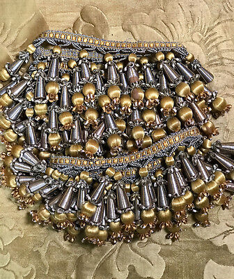 Antique French Empire Passementerie Gold Silver Silk Tassel Toggle Trm Hand Made