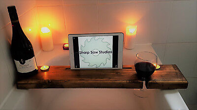 Wooden Bath Board Rack iPad iPhone for Mum Mother's Day gift present wine holder