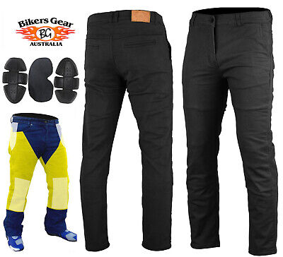 Australian Bikers Gear Chino Motorcycle Trousers Stretch Jeans Lined with Kevlar