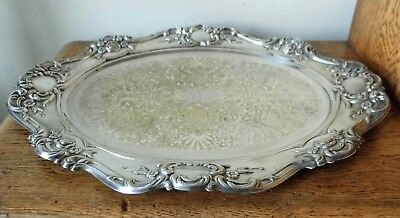 VINTAGE 1950-60s YEOMAN SILVER PLATE OVAL ROCOCO TRAY Scalloped Floral Rim