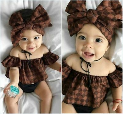 Cotton Newborn Baby Girls Off Shoulder Tops Headband Shorts Outfit Clothes Suits