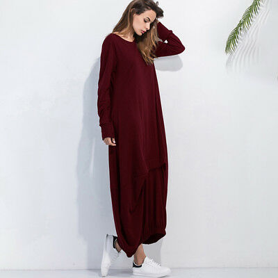 Women Girls Casual Loose Round Neck Dress Party Long Maxi Dress N7