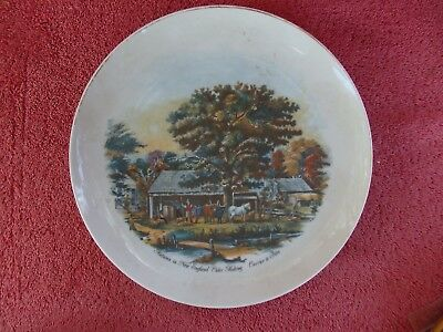 AUTUMN  IN  NEW ENGLAND   CIDERR MAKING  CURRIER & IVES  DISPLAY  PLATE    26cm.