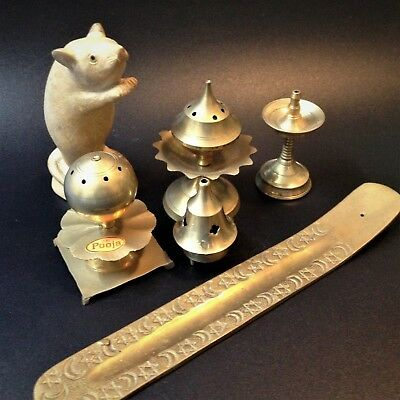 As New Old Stock - Lot x 5 Assorted Indian Brass Incense Burners - Unused