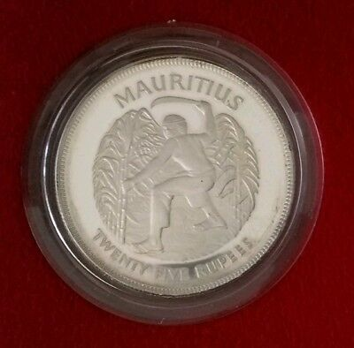 """1977 Mauritius """"Queen's Silver Jubilee"""" 25 Rupee Silver Proof Coin w/ Orig. Case"""