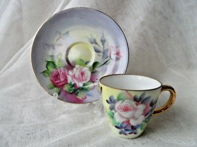 Nathco Chinaware Hand Painted Demitasse Cup and Saucer Made in Japan