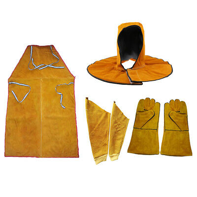 Blesiya Leather Welding Welders Apron Work Gloves Sleeves Head Cover Set