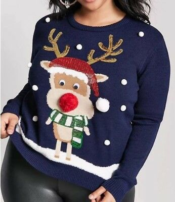 Forever 21 Plus Sequin Reindeer Holiday Graphic Ugly Sweater Navy
