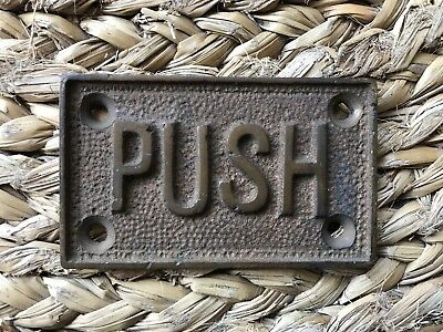 Vintage Brass Push Sign 1930's 1940's Shabby Chic