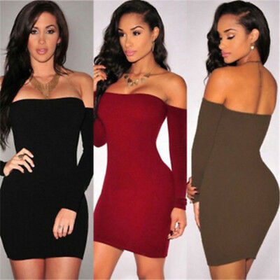 Women Off-the-shoulder Long Sleeves Bodycon Party Club Evening Mini Dress N7