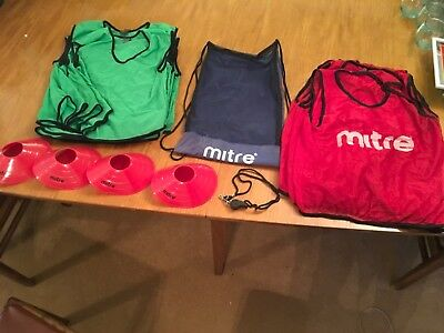 MITRE & PRECISION Football Netball Sport Training Bibs vests bag whistle & cones