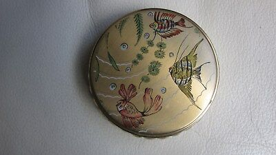 1950,s gold/painted fish powder compact .Clear mirror,sifter.