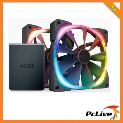 2X NZXT 140mm Aer RGB II Case Fan with HUE 2 1500RPM 4-pin PWM LED Gaming 14cm