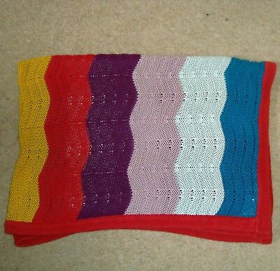 MAMAS & PAPAS Striped Cotton Knitted Baby Blanket Multi Colour And Patternology