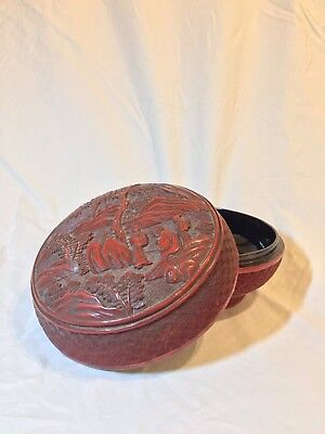 Genuine Antique Chinese Carved Cinnabar Lacquer Box