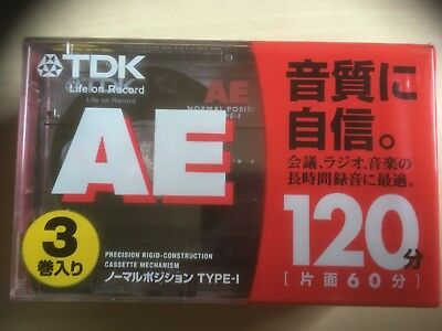Tdk Ae 120 3 Pack Factory Sealed Audio Cassettes Japan