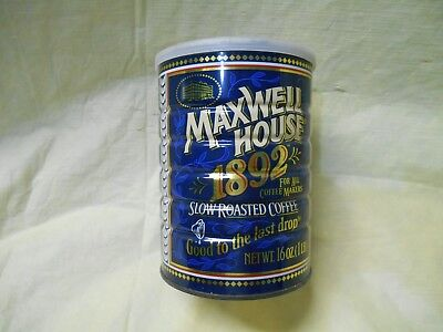 Vintage Maxwell House 1892 Slow Roast Coffee Tin Can Size 1lb 1 pound- 16 ounces