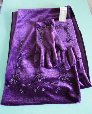 BNWT Bonmarche Scarf and Glove Set Purple with Beads