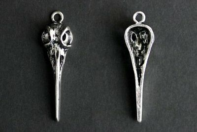5pcs Bird Skull Charms Antique Silver Tone 3D