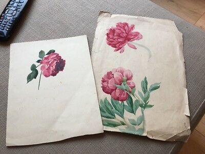 Pair Of Original Vintage Paintings Roses & Peonies c1930's