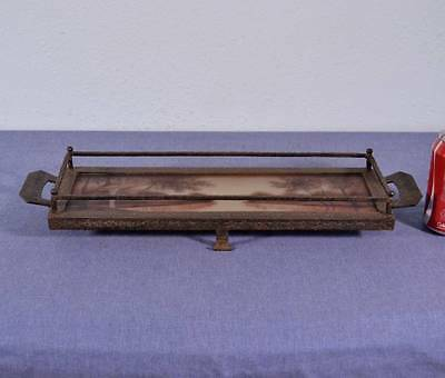 Antique French Art Deco Wrought Iron Plateau Hand Painted Tray