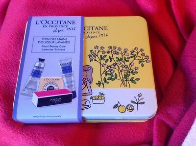 L'OCCITANE Hand Care Kit In Pretty Tin Soap Hand Cream Hand Gel File & Buffer