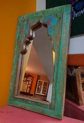 Antique boatwood arched old wall mirror boho chic turquoise morroccan Indian sml