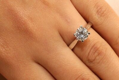 fc4ef10fd 1 Ct Round Cut Diamond Solitaire Engagement Ring 14K White Gold Enhanced