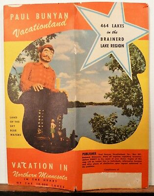 1949 Northern Minnesota Brainerd vintage travel brochure cartographic map b