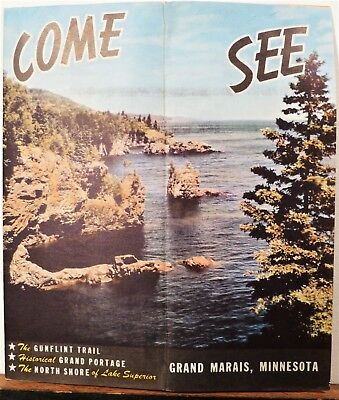 1938 Grand Marrais Minnesota vintage travel brochure Cook County map b