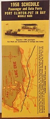 1958 Port Clinton Put-In-Bay Erie Isle Ferry schedule brochure Ohio b
