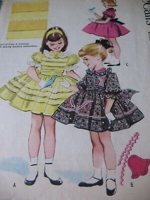 Fifties VINTAGE SEWING PATTERN McCalls LITTLE GIRLS' PARTY DRESS Full Skirt 4/23