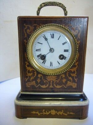Antique French Rosewood Inlaid Bell-Striking Mantel / Carriage Clock