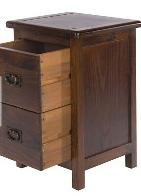 Oak 2Drawers Bedside Cabinet -Table Solid Wood Bedroom Nightstand