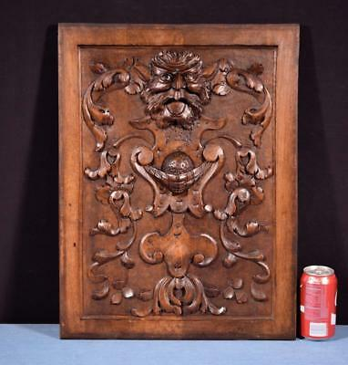*Antique French Panel in Solid Walnut Wood with Face Highly Carved