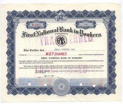 First National Bank in Yonkers (NY) – Aktie, 17 Shares, New York, vom 17.3.1955