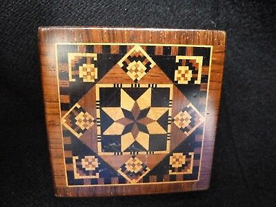 Antique (?) Tunbridge ware inlaid box with tangram game.